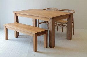 楡のシンプルテーブル+北欧ダイニングチェア106×2+楡のベンチダイニング4点セット
