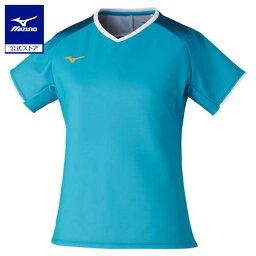 ミズノ公式 ゲームシャツ ラケットスポーツ レディース ターコイズ×ブルーコーラル