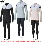 PUMA(プーマ)カラーブロックウィメンズトレーニングスーツ(582867)(スポーツ/トレーニング/ランニング/フィットネス/ジャケット/パンツ/上下セット/ウェア/セットアップ/女性用/レディース)