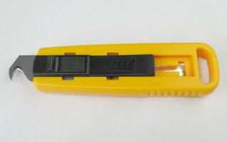 フック形状の刃で簡単にグリップを切ることができます