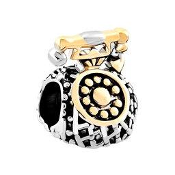 チャーム ブレスレット バングル用 LovelyJewelry ラブリージュエリー Antique Telephone Charm Silver and Gold Tone Jewelry Beads Fit Pandora Charms Bracelet 【並行輸入品】