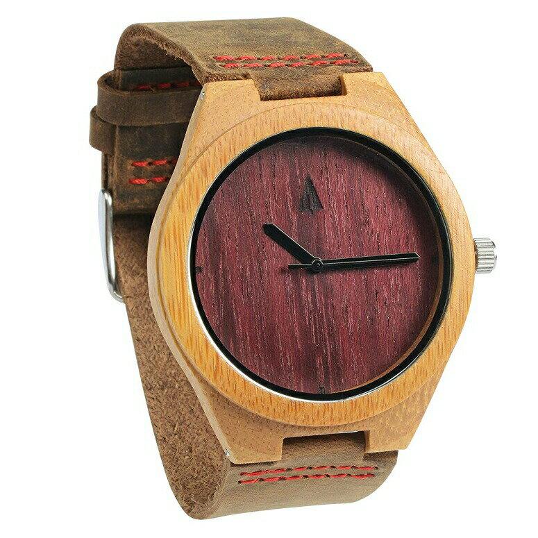 ツリーハット treehut ウッドウォッチ 木製腕時計 男性用 腕時計 メンズ ウォッチ ブラウン HUT-0086Red/Brown  【並行輸入品】