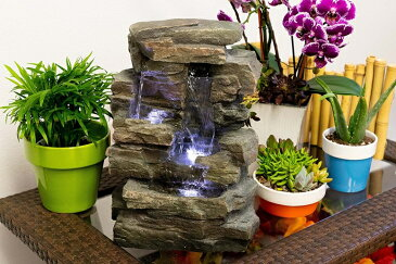 卓上 噴水 滝のオブジェ テーブルトップファウンテン インテリア噴水 Alpine WIN220 Waterfall Tabletop Fountain with White LED Light, Grey, 13 Inch TallAlpine WIN220 Waterfall Tabletop Fountain with White LED Light, Grey, 13 Inch Tall