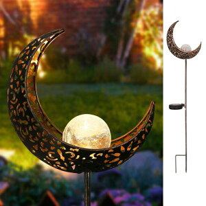 ガーデンライト 月 LEDソーラーライト Homeimpro Garden Solar Lights Pathway Outdoor Moon Crackle Glass Globe Stake Metal Lights,Waterproof Warm White LED for Lawn,Patio or Courtyard (Bronze) 送料無料 【並行輸入品】