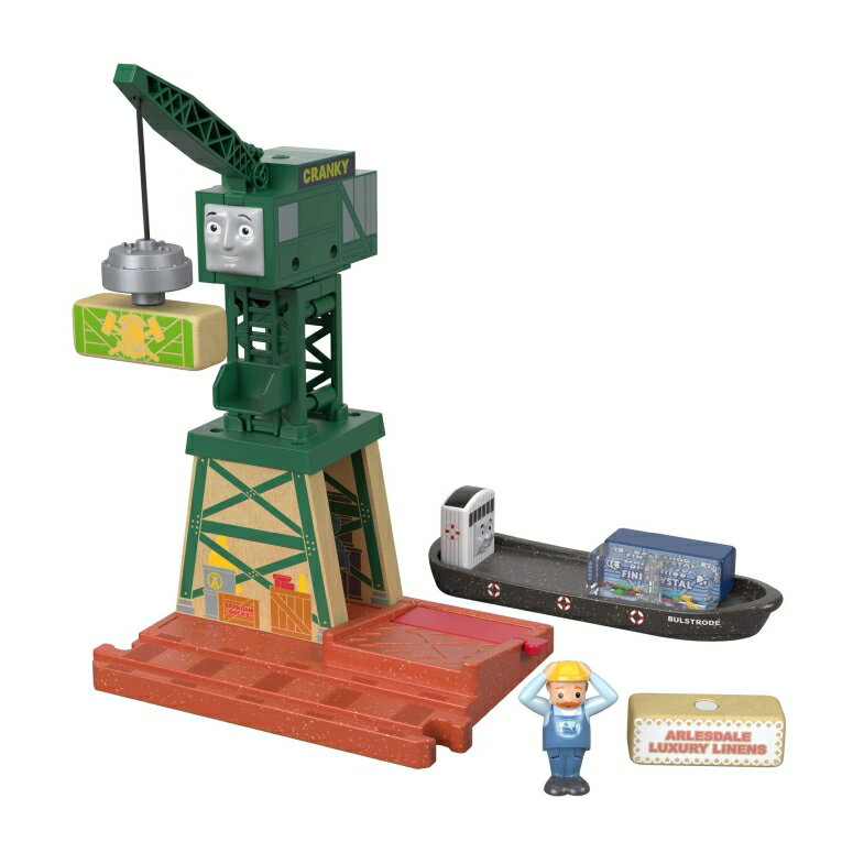 コレクション, フィギュア  Cranky at the docks Thomas Friends Fisher-Price Wood, Cranky at The Docks