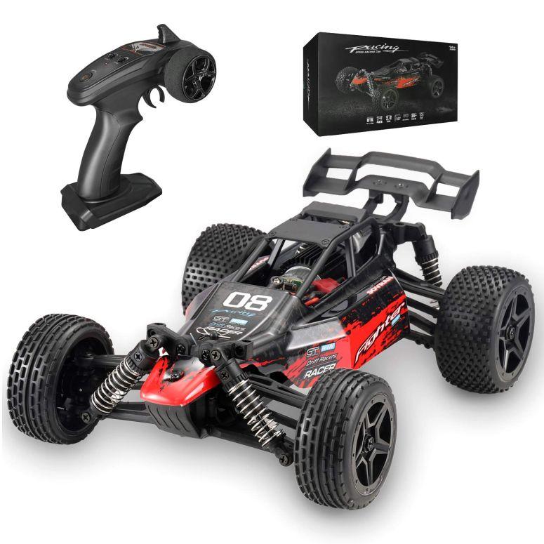 ラジコン・ドローン, オフロードカー  RC Cars, Fcoreey High Speed Remote Control Car for Adults Boys Kids, 1:14 Scale, 48 kmh, 4WD All Terrain Off Road Monster Trucks, 2.4GHz Rally Buggy Toys, Break The Wind Streamline Body Racing