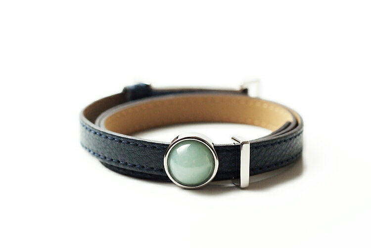 男女兼用アクセサリー, ブレスレット JOYTEC feelSLNatural Jadeite and Real Leather Bracelet