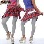 MJDIVA◆チェックシャツ付ストレッチレギンス3