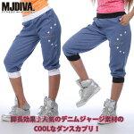 MJDIVA◆All-StarデニムBLUEスウェットカプリパンツ