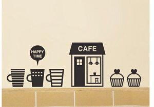 ウォールステッカー 北欧 壁紙 カフェ コーヒータイム coffee time 人気 壁デコ雑貨 アクセント ホーム デコレーション おしゃれ インテリア モノトーン カフェ ケーキ ハッピータイム お菓子 マグカップ ハート お店 メール便 送料無料 wall sticker シール