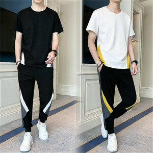 ジャージ 上下セット メンズ セットアップ 男性用 おしゃれ スウェットシャツ スウェットパンツ 半袖 夏 大きいサイズ ルームウェア 部屋着 ゆったり ジョギング 運動着 ダンス アウトドア シンプル tシャツ 黒 白