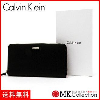 CK長錢包人Calvin Klein Wallet皮革黑色局拉鏈79441