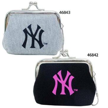 ミニがま口 コインケース 黒ピンク グレー黒 MLB 小銭入れ ニューヨークヤンキース クラックス 子供用 財布 男の子向け 野球グッズ メール便可 マシュマロポップ