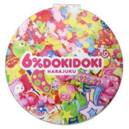コンパクト ダブル ミラー ピンク 手鏡 6%DOKIDOKI 松尾繊維工業 メイク直し 原宿系 ファッションブランドグッズ メール便可 マシュマロポップ