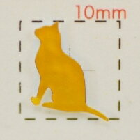 動物【ネイルシール】ネコ・猫(2)ゴールド/1シート9枚入