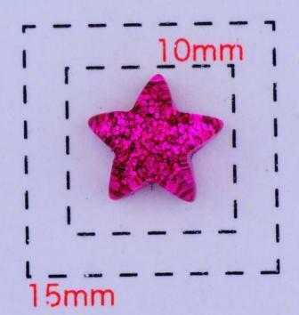 ジュエリースター8ミリ(星)《ネイル・デコ電用プラパーツ》ホットピンク8個入