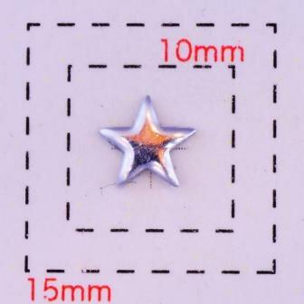 星型カラフルスタッズ6ミリ(星)《ネイル・デコ電用メタルパーツ》シルバー10個入