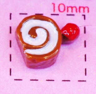 ミニ!!チョコロールケーキ6×9ミリ《ネイル・デコ電スイーツパーツ》 4個入