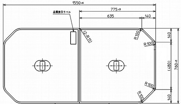 TOTO 浴室関連器具 ふろふたいものホーローバス 2枚 1550×760mmPCF1640R#NW1 ホワイト風呂ふた・風呂フタ・フロフタ