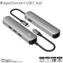 Type-C タイプシー ハブ USBポート HP15582【5828】 Hyper HyperDrive 6in1 USB-C Hub Type-Cポート 急速充電可能 高速データ転送 4K高画質 LANケーブル PD機能 HDMI変換アダプターロア・インターナショナル【宅配便送料無料】