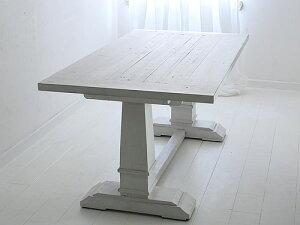 ダイニングテーブル2本脚 ホワイト色 アンティーク仕上げ0132-dt-541914