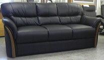 送料無料3人用ソファー合皮合成皮革張りブラック色硬めの座り心地お手入れ簡単高級感完成品座り心地抜群木調飾り北欧風最安値