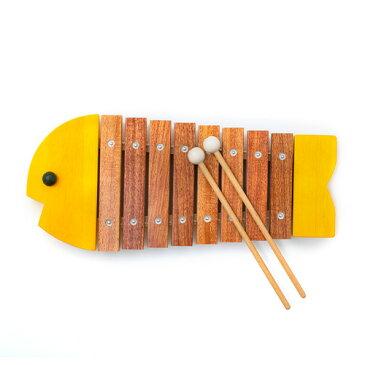【楽器玩具】知育玩具 1歳からの木琴 BorneLund(ボーネルンド)社 おさかなシロフォン 黄色 木のおもちゃ お誕生日【お祝い クリスマスプレゼント 子供】【P】