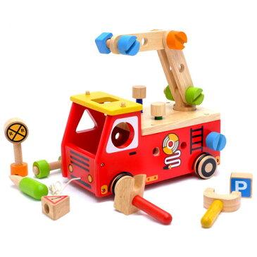 【知育玩具 2歳】型はめ I'm TOY アイムトイ アクティブ消防車 出産祝い 木のおもちゃ お誕生日:男【節句 入園 卒園 入学】【P】