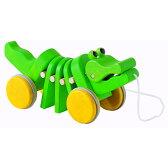 【木のおもちゃ】【木製玩具 知育玩具 出産祝い プルトイ】 プラントイ ダンシングアリゲーター 誕生日 1歳