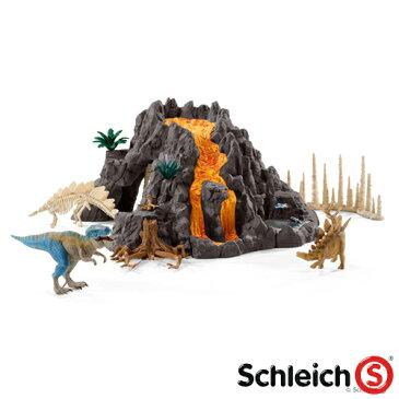 【おまけ付き オリジナルシール】【シュライヒ 恐竜】 schleich 大火山とティラノサウルス恐竜ビッグセット【005640】【autumn_D1810】【kd】