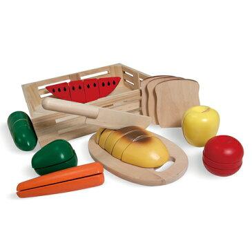 【木のおもちゃ ままごと遊び】Melissa & Doug メリッサ&ダグ カッティングフードセット 3歳