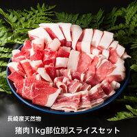 猪肉1kg部位別スライスセット(部位別パック詰め) 長崎県産天然イノシシ肉
