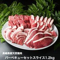 バーベキューセット猪肉スライス(4種類詰合せ)1.2kg(厚切り5mm)長崎県天然イノシシ肉
