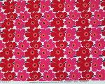 マリメッコミニウニッコ白地に赤花約70cm×約50cmハーフカット生地【カルトナージュ・ソーイングにおすすめの生地ですネコポス便対応】