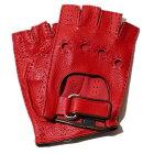 メローラカットオフドライビンググローブディアスキン(レッド)手袋指なしメンズ【イタリア製】MEROLA【手ぶくろ男性用プレゼント】