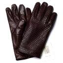 メローラ【イタリア製】MEROLA カシミヤ裏地 イントレチャート ラムナッパグローブ(ブラウン) 手袋メンズ 冬 防寒 手袋