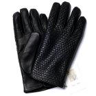 【イタリア製】MEROLAメローラカシミヤ裏地イントレチャートラムナッパグローブ(ブラック)手袋メンズ冬防寒手袋
