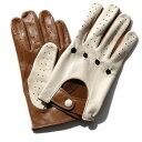 メローラ ドライビンググローブ ZU15bis(クリーム/キャメル)ラムナッパ【イタリア製】MEROLA 手袋 メンズ【手ぶくろ 男性用 】