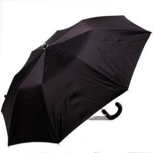 MagliaFrancescoイタリア製イントレチャートレザーハンドル折りたたみ紳士傘(コーヒーブラウン)マリアフランチェスコメンズ