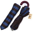 MagliaFrancescoイタリア製レザーハンドル折りたたみ紳士傘(ブラウンXブルー)マリアフランチェスコメンズ