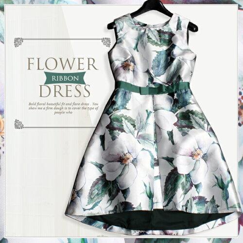 ドレス ワンピース 花柄ワンピ フォーマル パーティードレス 結婚式 花柄 フォーマルワンピース 二...