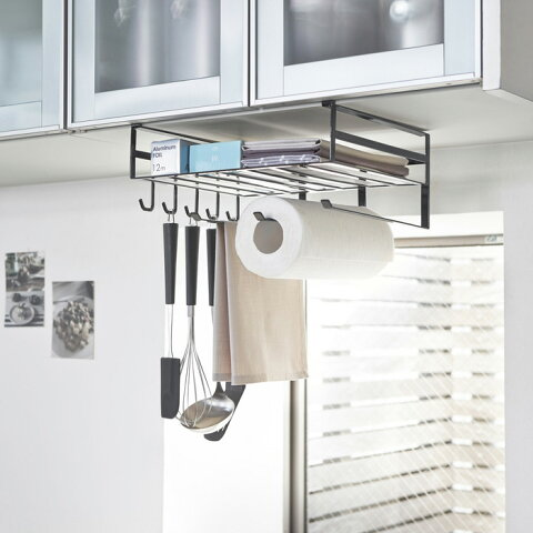 戸棚下多機能ラック タワー キッチン雑貨 オシャレ シャープ 便利 フライパン掛け フック ラップ収納 キッチンペーパーホルダー 一人暮らし ひとり 一人 二人暮らし