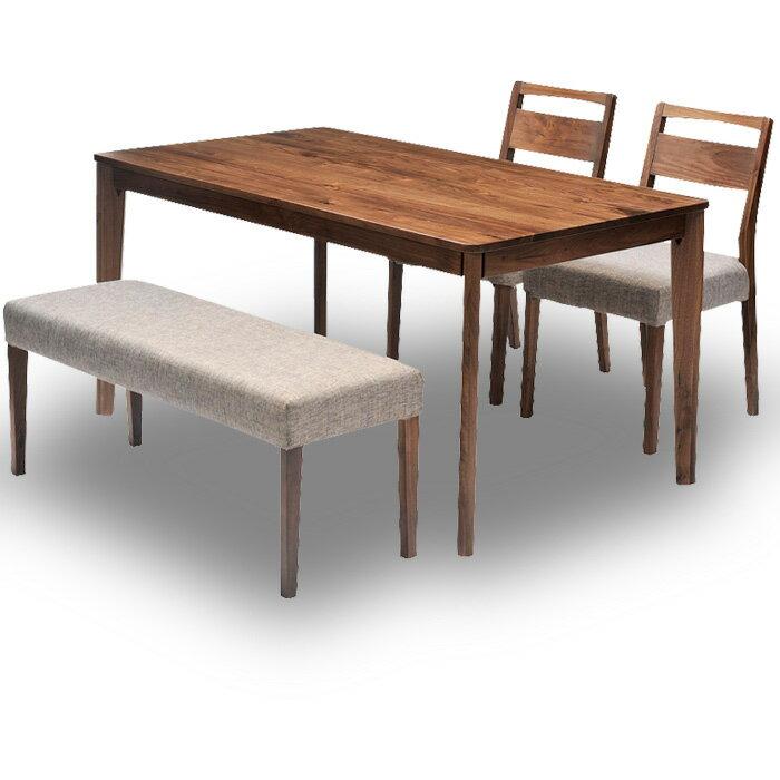 ダイニングテーブル 4点セット 幅140cmダイニングテーブル+ダイニングチェア2台+ダイニングベンチ1台セット:ほどよい収納生活モデラート