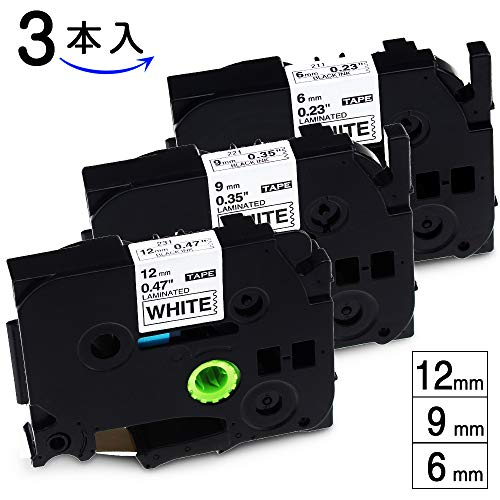 Akenピータッチ テープ 12mm 9mm 6mm ブラザー tzeテープ 白地黒字 ラミネートテープ ブラザー工業画像