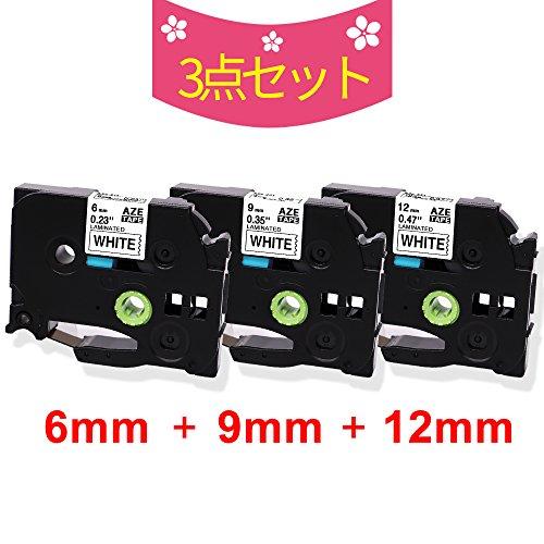 互換 ブラザー ピータッチテープ 12mm 9mm 6mm 白 ブラザーP-touch TZ TZeテープ TZe-231画像