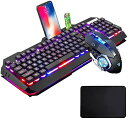 キーボードマウスコンボゲーマーホワイトLEDバックライトメタルプロゲーム用キーボード+ 2400DPI