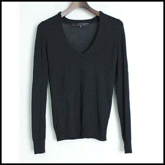 ♦ JENS LAUGESEN I enslaugasen ♦ cashmere blend V neck knit ♦ Navy ♦ 8
