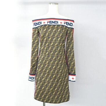 【中古】FENDI フェンディ × FILA フィラ 18AW FENDI MANIA オフショルダーワンピース レディース ブラウン 40