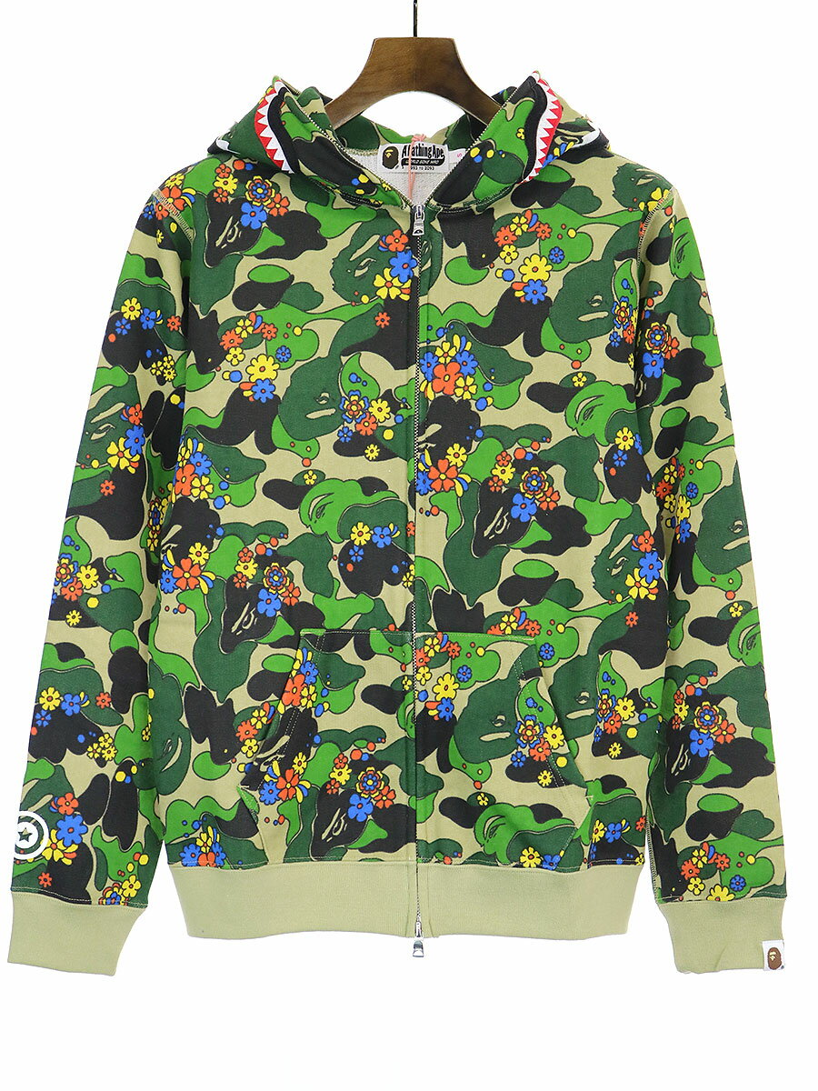 トップス, パーカー A BATHING APE ABC CAMO FLOWER SHARK FULL ZIP HOODIE S