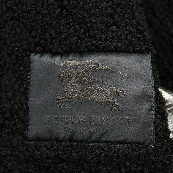 BURBERRYPRORSUMバーバリープローサムキルティング切替レザームートンジャケットブラック46【中古】